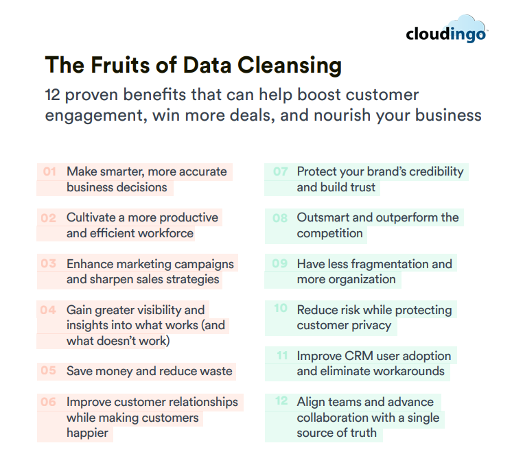 Benefits of data cleansing